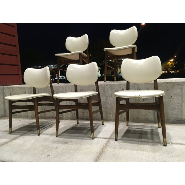 Mid-Century Modern Mid-Century Modern Thonet Style Walnut and Vinyl Dining Chairs by Shelby Williams - Set of 5 For Sale - Image 3 of 13
