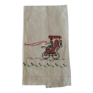 Vintage Green and Red Embroidered Bathroom Guest Towel For Sale