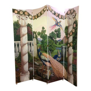 Vintage Hand Painted Screen For Sale