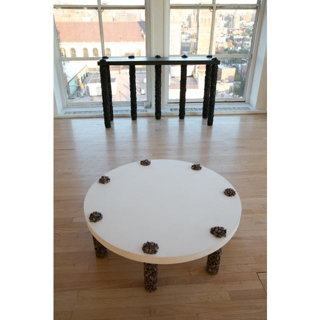 Hand Made 7 Leg Coffee Table Made of Picasso Jasper Stone and White Plaster Top For Sale - Image 4 of 5