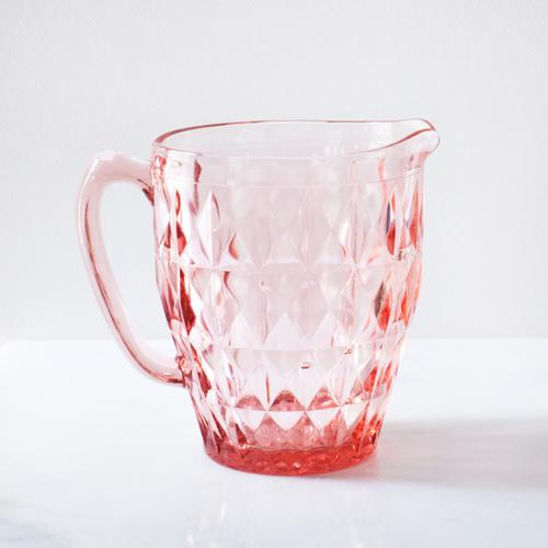 Blush Pink Depression Glass Faceted Pitcher - Image 3 of 4