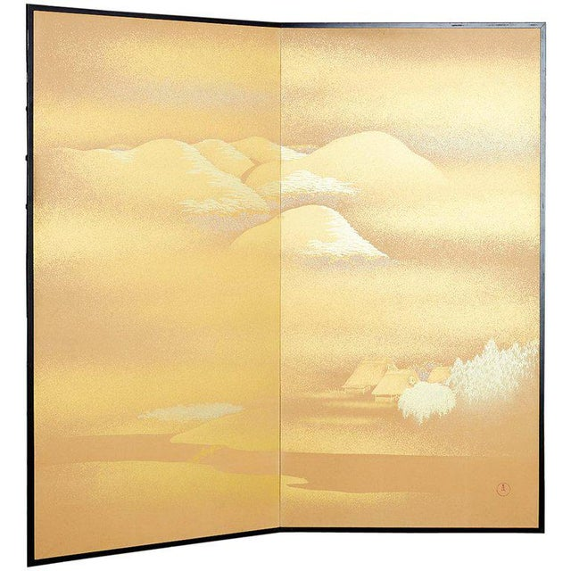 Japanese Two-Panel Gold Leaf Screen by Yoshikawa For Sale - Image 13 of 13