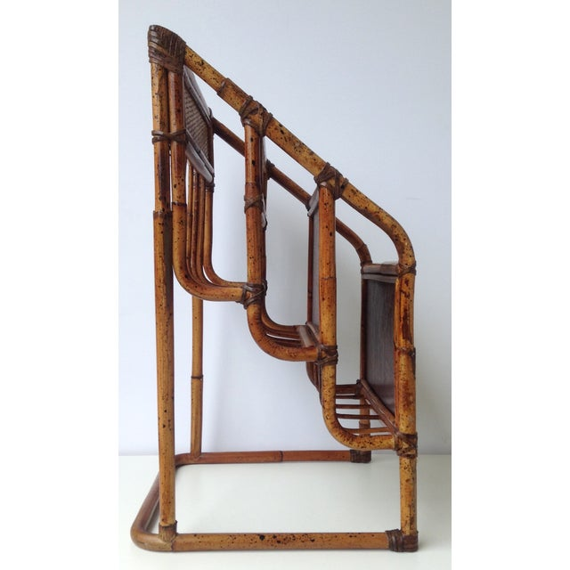 Vintage Bamboo Leather-Wrapped Magazine Stand - Image 6 of 11