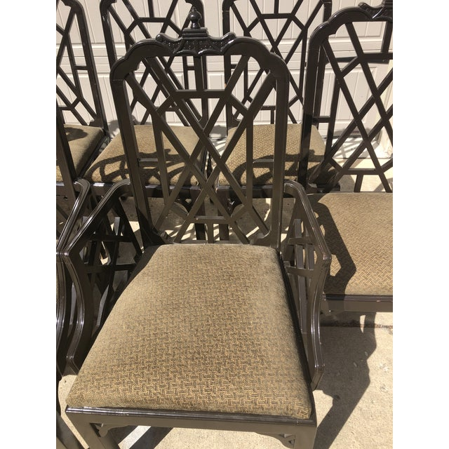 Chinoiserie Late 20th Century Chinese Chippendale Dining Chairs by Century Furniture- Set of 8 For Sale - Image 3 of 7