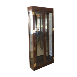 Vintage Henredon Scene One Campaign Style Display Cabinet For Sale