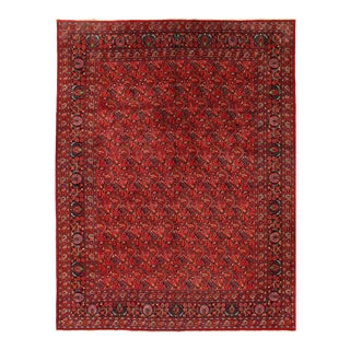 Red Semi Antique Persian Hand Knotted Mashad 10'1'' X 13'3'' For Sale