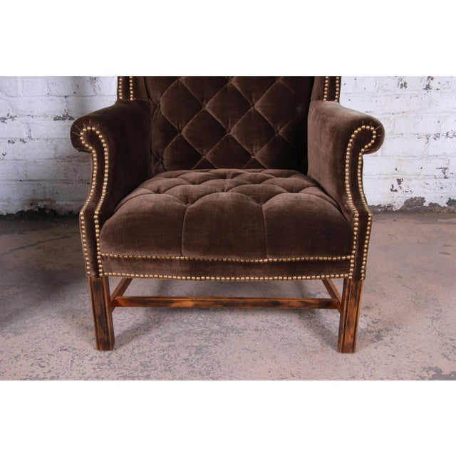 Mid-Century Brown Velvet Porter's Chairs - a Pair For Sale - Image 10 of 12