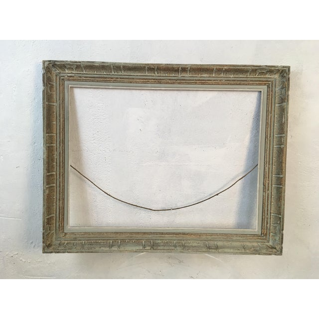 Wood Vintage Blue Painted Picture Frame For Sale - Image 7 of 7