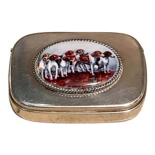 English Sterling Matchsafe With Enameled Fox Hounds, London, 1881 For Sale