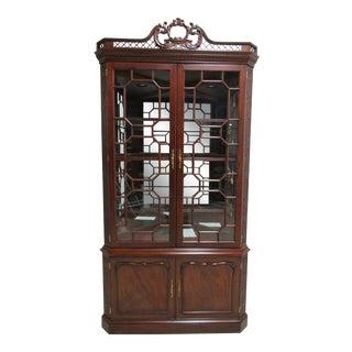 Henkel Harris Flame Mahogany Corner Cabinet Breakfront Hutch For Sale