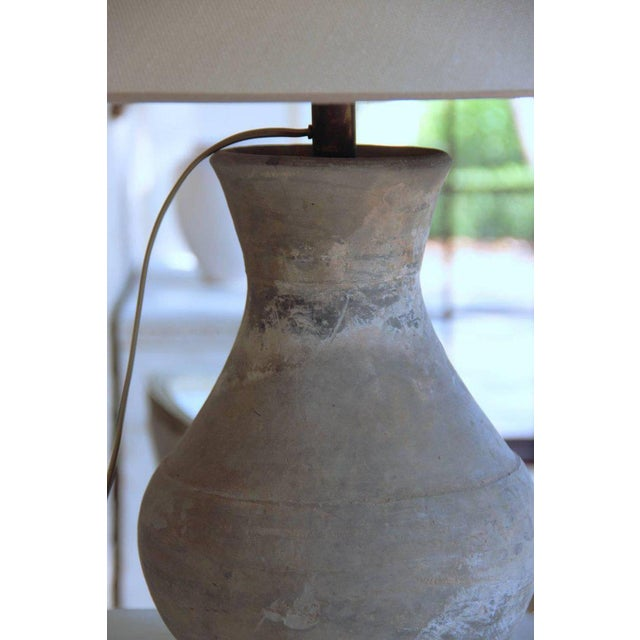 Chinese Han Dynasty Period Unglazed Vase as Table Lamp For Sale In Wichita - Image 6 of 10