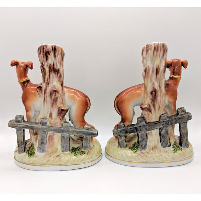 20th Century Staffordshire Greyhound/ Whippet Dog Spill Vases - a Pair For Sale - Image 4 of 9