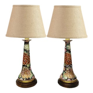 "A Pair of ""Cloisonné"" Ceramic Table Lamps"