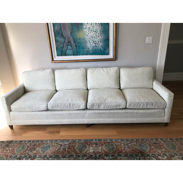 White Mid-Century Cream Jacquard Upholstered Sofa For Sale - Image 8 of 8