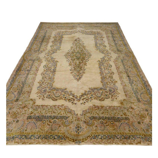 Asian Antique Persian Kerman Rug with Traditional Style in Light Colors For Sale - Image 3 of 10