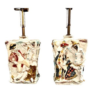 "Pair Eugenio Pattarino ""Venetian Carnival"" Lamps For Sale"