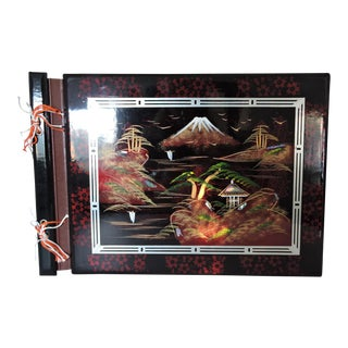 Inlayed Mid Century Lacquered Japanese Photo Album, Mount Fuji For Sale