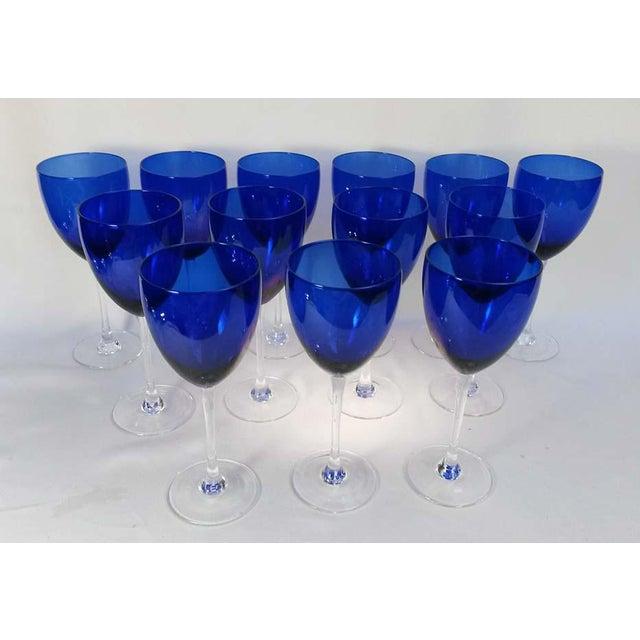 Elegant Set of 13 Cobalt Blue Wine Glasses - Image 2 of 5