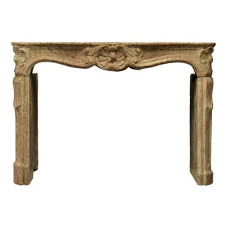 Antique French Limestone Louis XV Style Fireplace Mantel For Sale