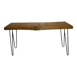 Lacquered Live Edge Wood Bench on Hairpin Legs For Sale