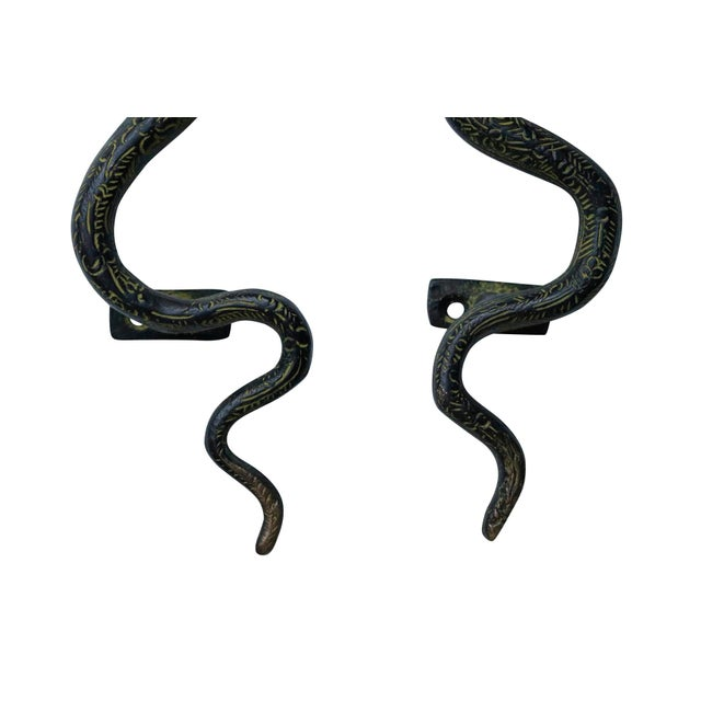 Asian Large Green Brass Cobra Door Handles - a Pair For Sale - Image 3 of 6