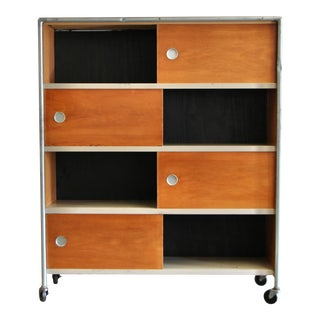 1950s Vintage Henry Glass Rolling Cabinet For Sale