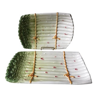 Italian Faience Asparagus Dish & Platter For Sale