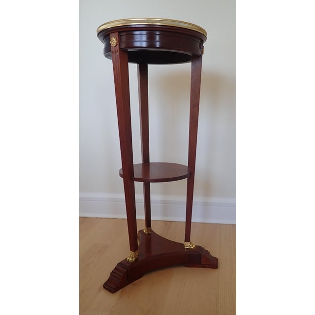French Mahogany Marble Top Pedestal For Sale - Image 3 of 9