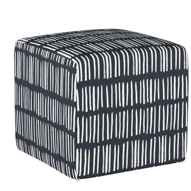 Not Yet Made - Made To Order Dash Navy Cube Ottoman For Sale - Image 5 of 7