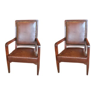 Pair of French Leather Library Chairs For Sale