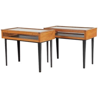 1940s French Pair of Display Wood and Glass Consoles With Ebonized Legs For Sale