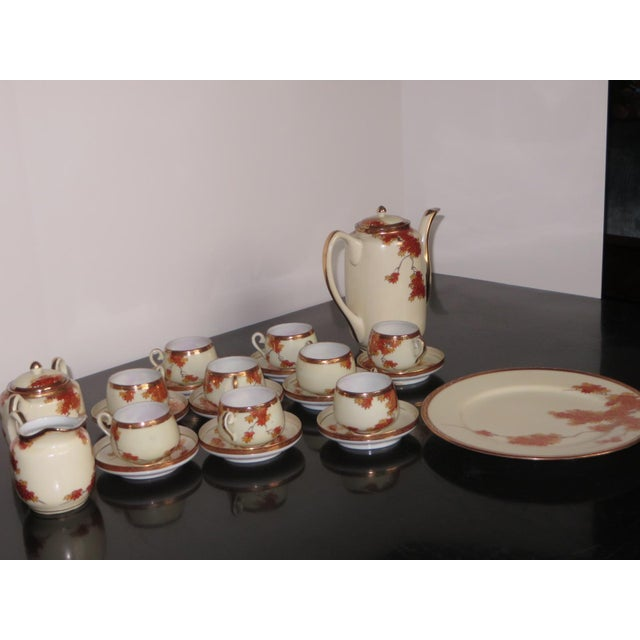 Vintage Chinese Porcelain Espresso Cups & Saucers, Coffee Pot, Creamer, Sugar Bowl & Dessert Plate - Service for 9 - Image 10 of 10