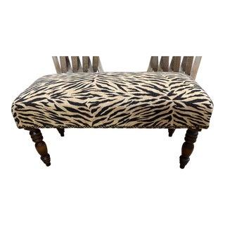 Nailhead Trim Faux Zebra Ottoman For Sale
