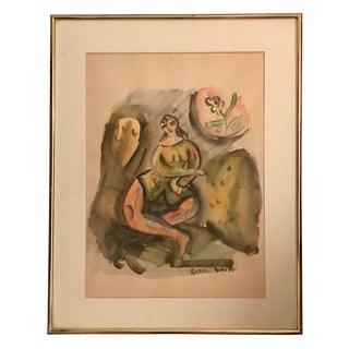 1950s Vintage Luba Schiff Watercolor Painting For Sale