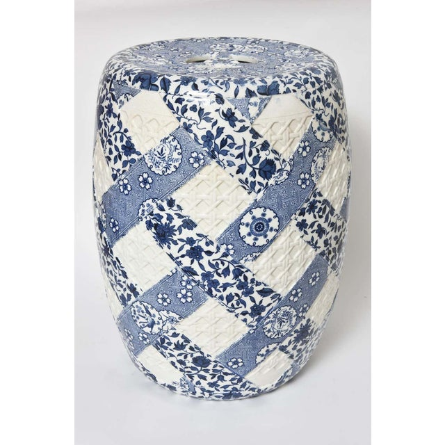 Antique 19th Century Minton Blue and White Basket Weave Garden Seat Stool For Sale - Image 12 of 13