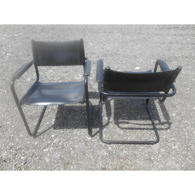Bauhaus Vintage Mid-Century Modern Black Leather Sling Dining Chairs - Set of 4 For Sale - Image 3 of 8