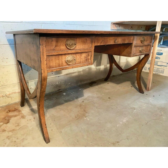 Gorgeous vintage writing desk with a gilt banded leather top, brass pulls and lovely finished. This is a beautiful,...