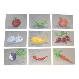 Country Still Life Fresh Vegetables Paitings by Cleo Plowden - Set of 9 For Sale