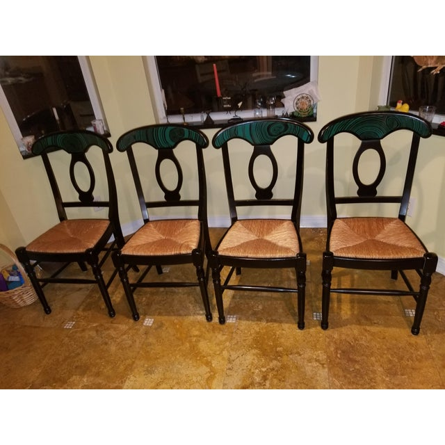 1970s Mid Century Faux Malachite Dining Set 5 Piece Set 1 Table 4 Chairs 2 Leaves All Matching! For Sale - Image 9 of 13