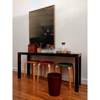 Teak Danish Modern Decanter + 6 Glasses + Round Brass Tray, Set of 8 Preview