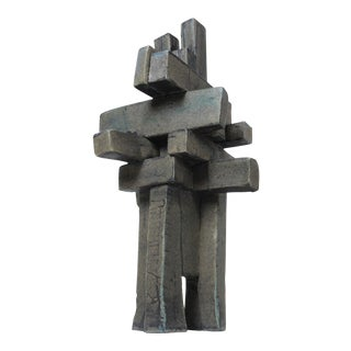 "Large Architectural Brutalist Ceramic Tabletop Sculpture in ""Weathered Bronze"" by Judy Engel For Sale"