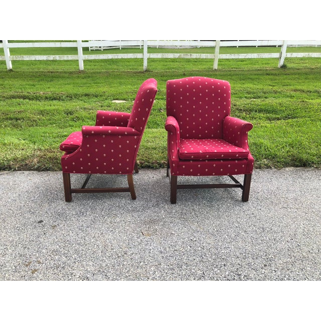 Burgundy Chippendale Wingback Chairs - A Pair For Sale - Image 4 of 8