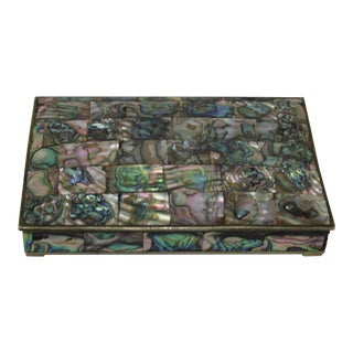 Vintage Tessellated Abalone Box - 4 X 6 For Sale