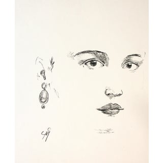 """""""Earring"""" Contemporary Minimalist Portrait Charcoal Drawing by Sarah Myers For Sale"""