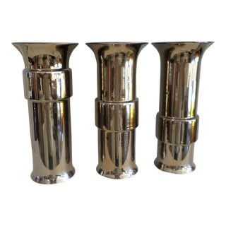 Boho Chic Bronze Glaze Ceramic Cuff Vases - Set of 3