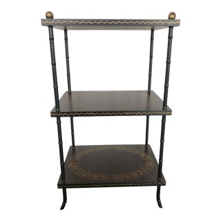 Chinoiserie Hand-Painted 3 Tier Side Table For Sale