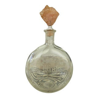 Antique Wine Decanter With Rose Quartz Wine Stop For Sale