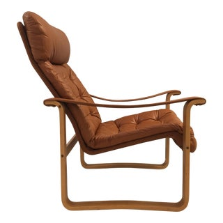 1970s Finnish Oy Bj Dahlqvist Vintage Tufted Leather and Bentwood Lounge Chair