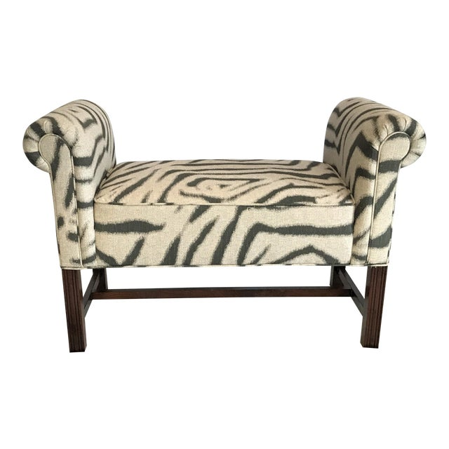 Zebra Print Scroll Arm Bench For Sale