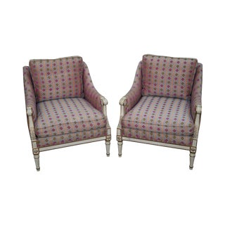 Louis XVI Style Bergere Club Chairs - A Pair